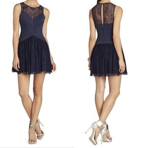 BCBGMaxAzria Dresses - BCBG Sophiana Dress Navy Dark Ink Bandage Lace 4